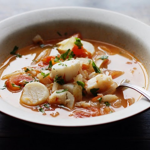 Fish Soup with Scallops, Tomato, and Bay