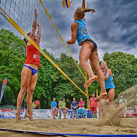 Smash ! by Marco Bertamé - Sports & Fitness Other Sports ( sand, ball, red, blue, beach volley, lady, summer, beach, net, jump )