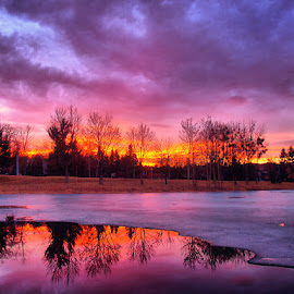 Meltdown I. by Zsolt Zsigmond - Landscapes Sunsets & Sunrises ( clouds, water, reflection, sky, sunset )
