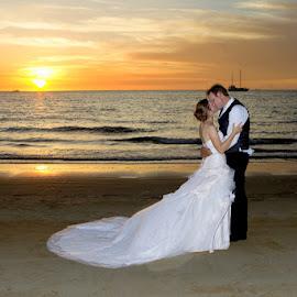 Wedding Sunset by Robyn Weber - Wedding Bride & Groom