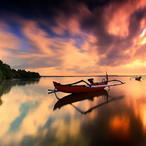 Color of Sunrise by Krishna Mahaputra - Transportation Boats
