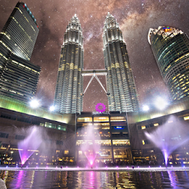 The Suria and The Galaxy by Rudy Amin - City,  Street & Park  Skylines ( cityscapes, petronas twin towers, suria, nightscapes, kuala lumpur, milky way )