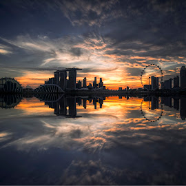 by Gordon Koh - City,  Street & Park  Vistas ( clouds, shenton way, skyline, blue hour, twilight, riverfront, suntec city, cityscape, travel, singapore, city, skyscraper, financial district, sunset, jubliee bridge, buildings, asia, singapore flyer, long exposure, waterfront )