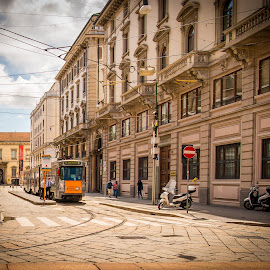 by Kevin Warrilow - City,  Street & Park  Street Scenes ( trams, milan, electric, italy, streetcar )