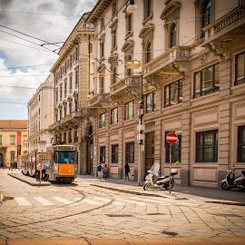 by Kevin Warrilow - City,  Street & Park  Street Scenes ( trams, milan, electric, italy, streetcar )