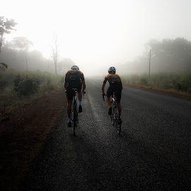 Riding through the mist by Nora Richards - Instagram & Mobile Android ( road cycling, adventure, road biking, cycling, zambia, travel, roads, mist )