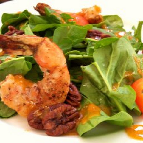 Grilled Shrimp, Radicchio, Spinach Salad