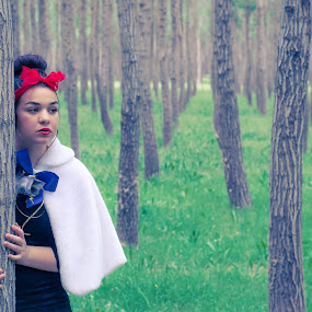 Snow white by Robbie Caccaviello - People Portraits of Women ( stormy, scary, lost, bright, sad, eposes, white, forest, happiness, shadows, love, red, blue, happy, ribbon, dark, bow, flowers, modern fairytale, green grass, snow white, kisses )