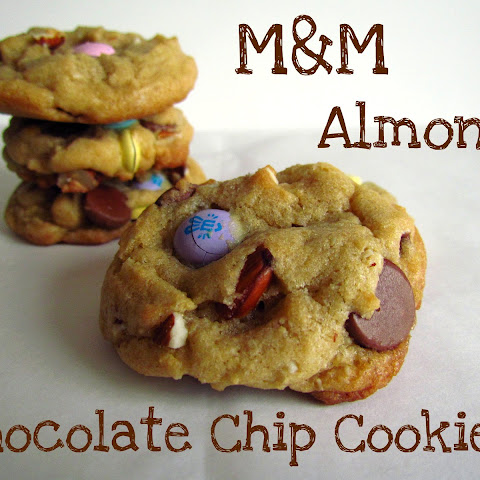 M&M Almond Chocolate Chip Cookies