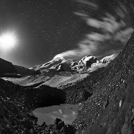 Elbrus by Александр Агабабаев - Black & White Landscapes ( moon, mountains, long exposure, lake, night )