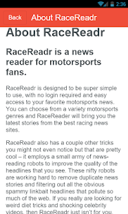 RaceReadr Screenshot