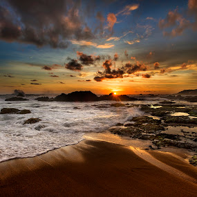 Sunset at South Sea Malimping by Welly Agus - Landscapes Sunsets & Sunrises