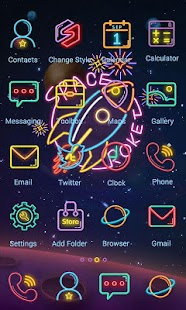1 Space Neon Theme-ZERO Launcher App screenshot