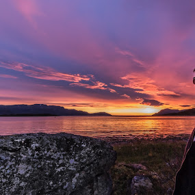 Sunset and me by Benny Høynes - Landscapes Sunsets & Sunrises ( nature, colorful, sunset, landscapes, norway,  )