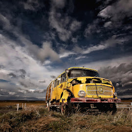 Benz  by Þorsteinn H. Ingibergsson - Transportation Automobiles ( car, clouds, iceland, sky, nature, truck, automobile, structor, benz, rusty, landscape, abandoned )