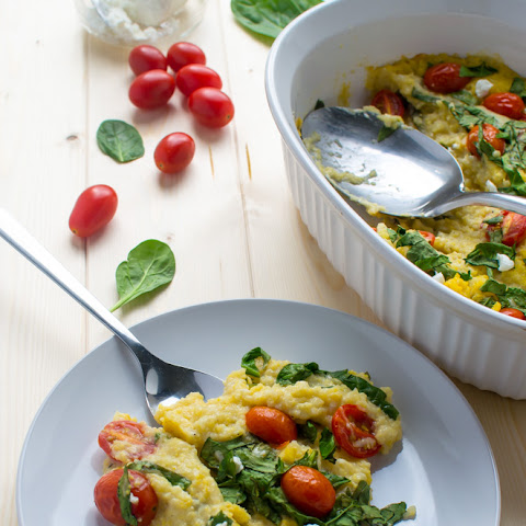 Baked Polenta With Grape Tomatoes And Spinach