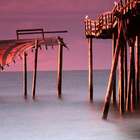 After The Storm by Bonnie Rovere - Landscapes Waterscapes ( water, hatteras, pier, ocean, sunrise )
