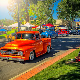 A Day at the Car Show by Apollo Reyes - Instagram & Mobile iPhone ( trucks, sky, cars, street, trees, people )