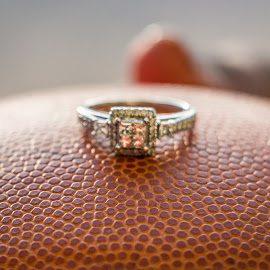 Engagement Ring On Basketball by Kathy Suttles - Wedding Details ( basketball, ring, handed her the ball, court date, engagement )