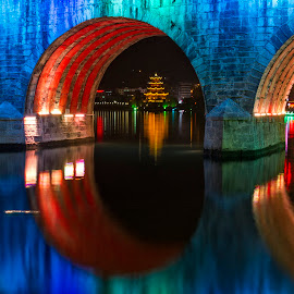 Porthole by Flavian Savescu - Buildings & Architecture Bridges & Suspended Structures ( , serenity, blue, mood, factory, charity, autism, light, awareness, lighting, bulbs, LIUB, april 2nd )