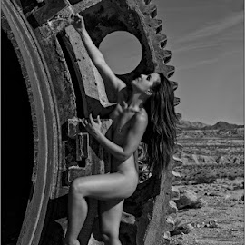 The Big Gear by Fred Prose - Nudes & Boudoir Artistic Nude ( desert, nude, industrial, art, beauty )