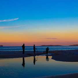 3 Friends at a sunset  by Faisal Enam - Landscapes Beaches ( friends, sunset, reflections, beach )