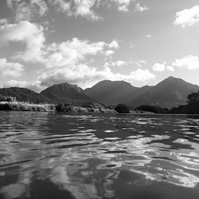 Paddling up the river by Leimaile Guerrero - Landscapes Waterscapes ( kauai, hanalei river, hanalei, hawaii, river )