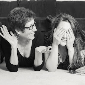 Mother and Daughters by Brandon Downing - People Family ( black and white, family, candid, women, portrait )