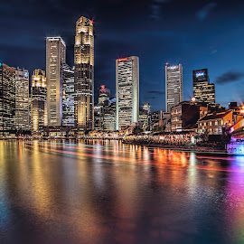Blue Hour @ Boat Quay by Gordon Koh - City,  Street & Park  Vistas ( clouds, boat quay, blue hour, boats, riverfront, asia, restaurants, cruise, singapore, river, singapore river )