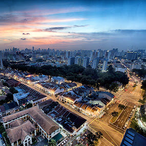 Sunset in Dream City by Riki Boo - City,  Street & Park  Skylines ( dawn, sunset, shophouses, landscape, evening, singapore )