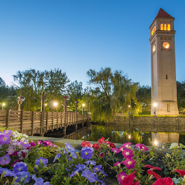 Spokane clock tower  by Casey Bebernes - Buildings & Architecture Statues & Monuments
