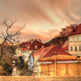 Prague by Vagelis Baslis - City,  Street & Park  Vistas ( houses, sunset, trees, prague, river )