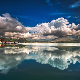 Glory Afternoon  by Bertoni Siswanto - Landscapes Cloud Formations ( mountain village, reflections, cloudscape, landscape photography, lake,  )