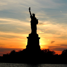 Lady Liberty by Lauri Dean-Clope - Buildings & Architecture Statues & Monuments ( statue of liberty, sky, freedom, america, sunset, lady liberty )