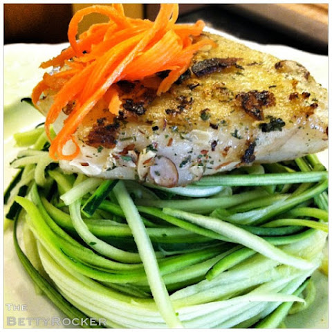 Zucchini Pasta with Maple Almond-Crusted Sea Bass