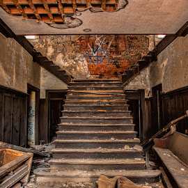 Once Upon A Staircase by Roy Walter - Buildings & Architecture Decaying & Abandoned ( staircase, graffitti, dirt, decay, abandoned )