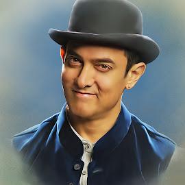 Amir khan by Kamran Khan - Digital Art People ( portraiture, mr khan, indian actor, dhoom 3, smile, mr perfect, portrait, amir khan )