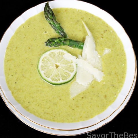 Asparagus-Pea Soup with Parmesan Cheese