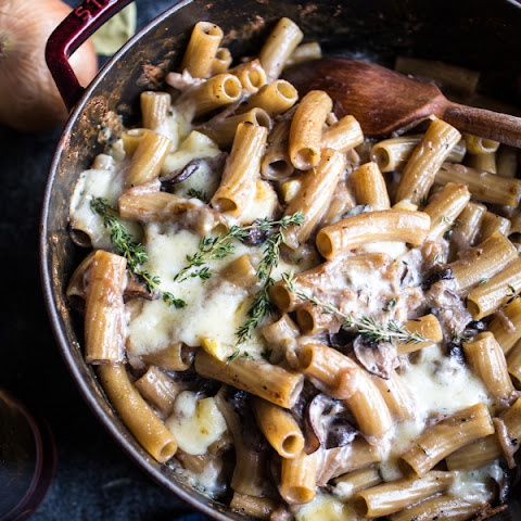 One-Pot Creamy French Onion Pasta Bake.