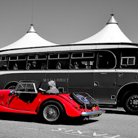 red flash by Nigel Clackworthy - Transportation Roads ( buses, b&w, colour pop, vintage, old cars )