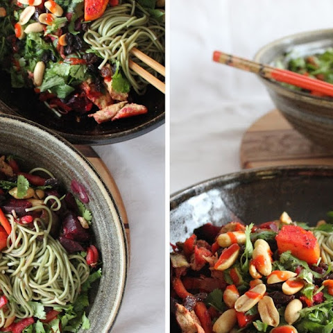Green Tea Soba Noodles With Roasted Vegetables & Herbs