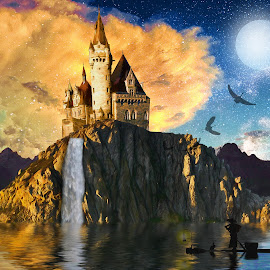 Storm Castle by Charlie Alolkoy - Digital Art Places ( water, moon, stars, lake, castle, storm, birds )