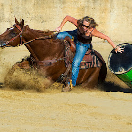 by Joe Saladino - Sports & Fitness Rodeo/Bull Riding ( girl, barrel rider, horse, competition )