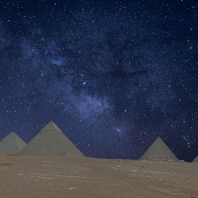 Stars and Pyramids by Tony Huffaker - Digital Art Places ( giza, pyramids, stars, night sky, egypt, landmark, travel,  )