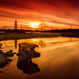Nebraska Lighthouse by Ken Smith - Landscapes Sunsets & Sunrises ( lighthouse, landscape, cunningham lake, nebraska )