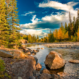 Clarks Fork of the Yellowstone by Kevin Esterline - Landscapes Mountains & Hills ( pines, national park, yellowstone, fall, aspens, river,  )