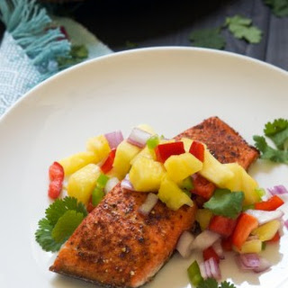 Chile Salmon with Spicy Pineapple Salsa