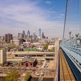 Looking down the rails by Jack Brittain - City,  Street & Park  Skylines ( benjamin franklin bridge, pennsylvania, bridge, philadelphia, cityscape, morning, usa, downtown )