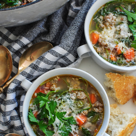 Spring Soup with Italian Sausage, Rice and Veggies