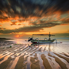 Mertasari Sunrise by Rivan Indra - Landscapes Sunsets & Sunrises ( clouds, bali, nikond7000, sea, seascape, beach, landscape, sun, sky, le, nature, indonesia, sunrise, nikon, longexposure,  )